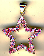 """925 Sterling Silver Pink Cubic Zirconia Open Star Pendant Large Length 1.1/2"""""""