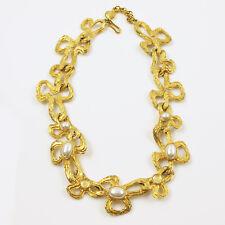 Vintage Lanvin Paris Signed Choker Necklace Pearl and Poured Glass Cabochon