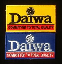2 Daiwa fishing fish angler yellow reel rod blue sew iron on patch badge