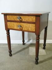 Antique Mid-19th Century Two Drawer Cherry Stand With Birds-Eye Maple Drawers