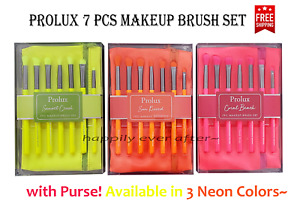 Prolux 7 PCs Makeup Brush Set with Neon Makeup Purse, FREE SHIPPING IN US!