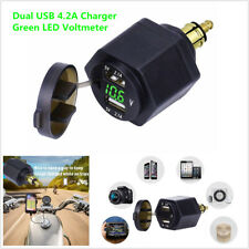Motorcycle Green LED Voltmeter Dual USB Charger Adapter For BMW
