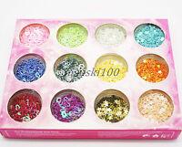 Nail Art 3d Decoration Beads Micro Ball Caviar Starts Hearts Glitter 12 pots set