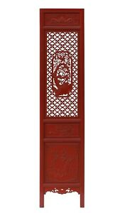Chinese Red Geometric Flower Bird Accent Narrow Floor Panel Headboard cs3568