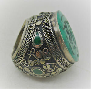 BEAUTIFUL POST MEDIEVAL ISLAMIC OTTOMAN SILVER SEAL RING WITH GREEN STONE