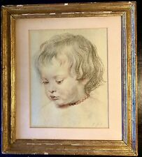 Antique Rubens Framed & Glazed Etching Of A Young Girl