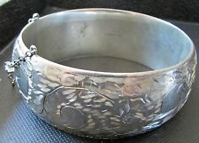 "Birks Sterling Silver Bangle Bracelet Engraved Chased Flower Hinged  7 ""  Gail"