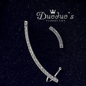 18K White Gold Plated Asymmetrical Stud Earrings