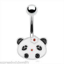 14g Black And White Panda Bear Red Flower Non Dangle Navel Belly Ring