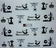 Nail Art Water Decals Stickers Halloween Spider Cat Pumpkin Gel Polish (A119)