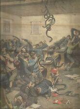 K0917 In una scuola rurale le serpi cadono dal soffitto - Stampa antica
