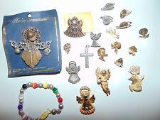 Vintage PIN LOT - Religious Christmas Rhinestone Angel/Cross Brooches (20 Pins)