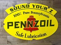 "Heavy Pennzoil Double Sides Sign 31"" X21""  Dated 1947"