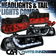 92-98 BMW E36 323is 328is 2Dr Coupe LED Projector Headlights+Red Smoke Tail Lamp