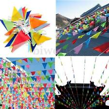 10M Rainbow Colorful Bunting Flags Wedding Outdoor Banner Decoration Beautiful P