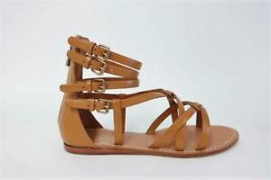 Tory Burch Flat Gladiator Sandals Lucas Tan Leather Size 5 NEW