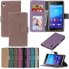 For Motorola Sony Series Phones Wallet ID Card Matte Leather Case Cover TPU DK