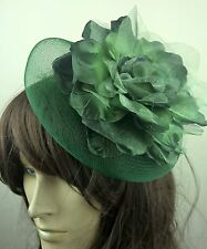 dark green satin flower crin fascinator hair clip headpiece wedding party piece