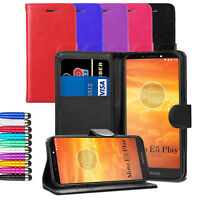 "Leather Flip Wallet Case Cover For Motorola Moto E5 Play 5.2"" + Screen + Stylus"