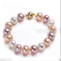 9-10mm Genuine Natural Multicolor Freshwater Akoya Pearl Bracelet 7.5""