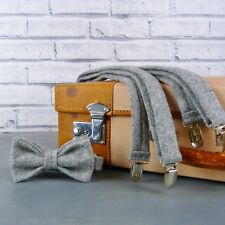 Handmade Yorkshire Tweed Bow Tie and Braces - GreyTwill