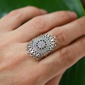 Large Filigree 925 Sterling Silver Sunflower Ring Jewellery