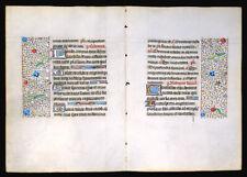MEDIEVAL ILLUMINATED MANUSCRIPT   BOOK OF HOURS 2 LEAVES BIFOLIUM 1450, GOLD