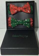 "Blueberry Pet Soft Comfy Christmas Set Of 2 Handmade Bow ties 4""x2.5"""