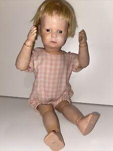 "Antique Schoenhut Wooden Doll 14"" Babyfaced Toddler With Wig"