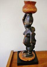 ANCIENNE ET BELLE STATUE ASHANTI (Ghana) AVEC BEBE DANS LE DOS  SOCLEE H 42,5 cm