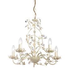 Milo Lighting Lullaby Crystal 5 Light Ceiling Pendant Chandelier, Cream Gold