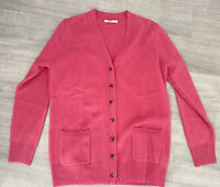 Wool overs Pink Ladies Cardigan Size M Long Sleeve Button Down Winter Warm