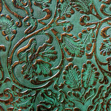 Turquoise & Copper 2/3oz Floral Embossed Cowhide Leather 12