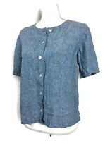 Orvis Linen Top Blue Chambray Short Sleeve Button Boxy Blouse Size M
