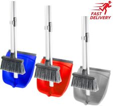 FOLDING STRONG LONG HANDLE DUSTPAN DUST PAN AND BRUSH SET GARDEN BROOM SWEEPER