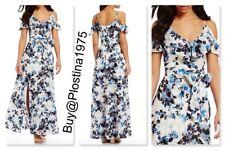 ELIZA J White Blue Floral Off Cold Shoulder Burnout Jacquard   Size :0P  #B263