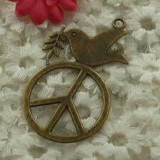 free ship 10 pieces bronze plated peace dove pendant 62x35mm #2991