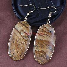 18K Gold Natural Picture Jasper Gemstone Drop Dangle Hook Women Earrings Jewelry
