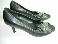 WOMENS BLACK LEATHER AEROSOLES CAREER HEELS PUMPS PEEP TOES SHOES SIZE 9 M