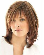 100% Real Hair! Fashion Wigs Quiet Glamour Brown Women's Medium Human Hair Wigs