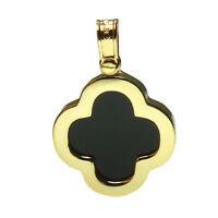 9ct Yellow Gold Black Onyx Pendant Hallmarked 375 Crucifix 24 mm Luxury Box