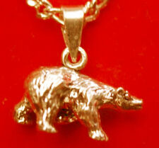 LOOK New 3D 24kt Gold plated solid Sterling Silver Grizzly Bear Pendant Charm Je