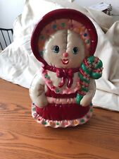 Rare And Vintage Ceramic Mrs Snowman With Candycane
