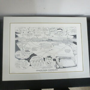 1990 Sporting News 16x22 Litho by Amadee League Park Cleveland Speaker/Lajoie
