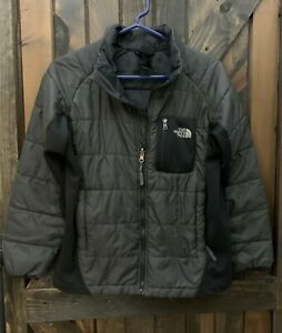 Boys size Large 14 16 The North Face Gray Black Zippered Quilted Jacket Coat