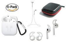 AirPods Accessory Pack 6 in 1: Cover/Strap/Earhooks/Keychain/Carrying Case White