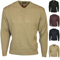 Mens Jumper Carabou Classic V Neck Country Wear Knitted Pullover Shirt Sweater