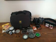 Chinon CE-4 with Power Winder ruggard bag filters Colin tiffen flash lens lot