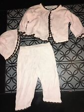 sz 3 6 m Zackali baby pink brown top pants hat outfit EUC