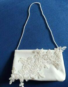 Brauttasche mit Blume Spitze Braut Tasche creme z. Brautkleid Hochzeit